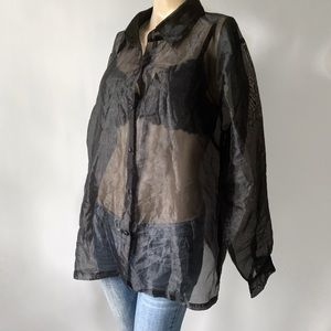 Vtg Completely Sheer Long Sleeve Button-down top